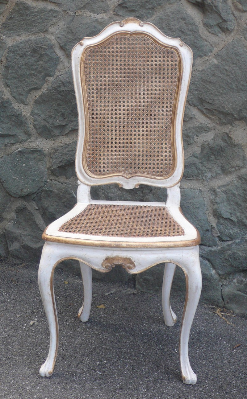 Chaise Provence.Patine blanc et or